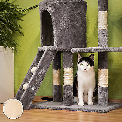 Arbre à chat griffoir grattoir jouet animaux douillet et peluché beige 5