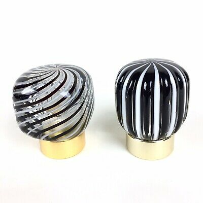 Vtg Italian Murano Glass Shower Sink Vanity Faucet Knobs Decorative Black White 3