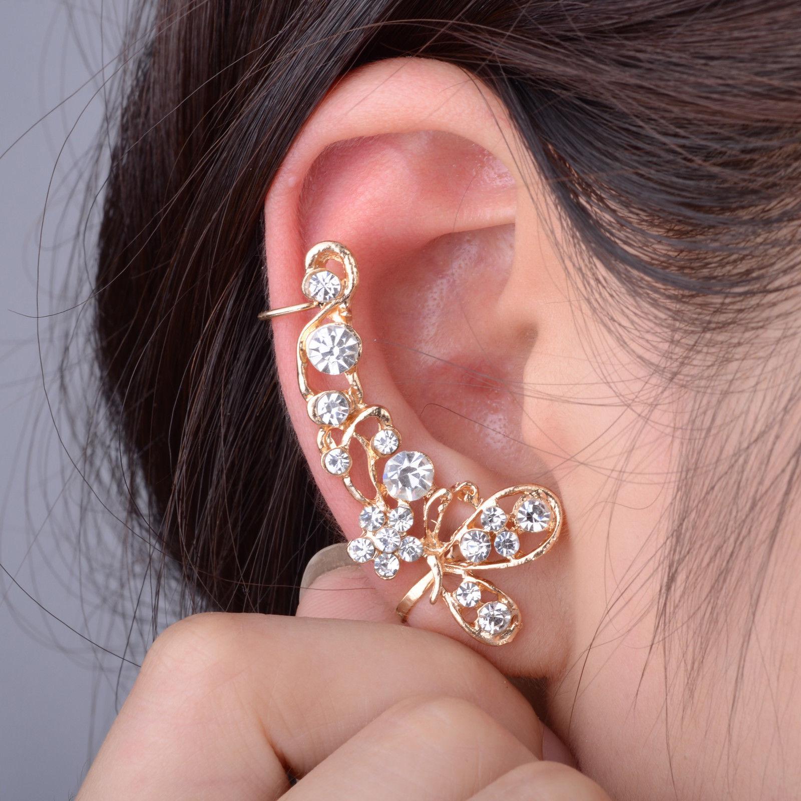4 Of 9 Fashion Celebs Sweet Crystal Ear Cuffs Clip On Cartilage Wrap Cuff Punk Earrings