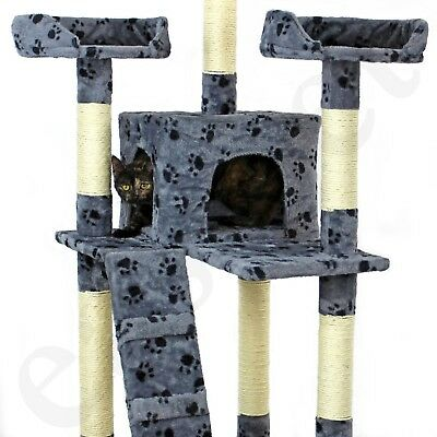Cat Tree Activity Centre Scratcher Scratching Post Kitten Play Toy Scratch Bed 7
