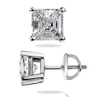 1.50Ct Asscher Cut Solitaire Stud Earrings Lab Diamond 14k White Gold Screw Back 4