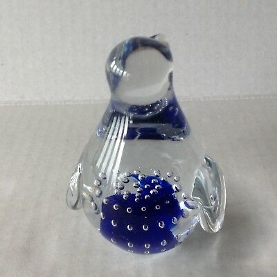 Vintage Murano Glass Penguin Figurine Paperweight blue Controlled Bubbles 3