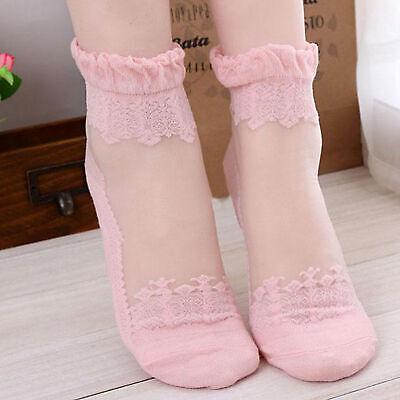 Rose ou Noir ou Blanc Soyeux Coton Cheville courte bas dentelle motif Taille unique