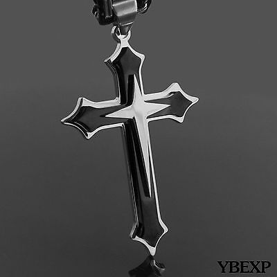 20''-36''Men Stainless Steel Cross Pendant Black Necklace Byzantine Box Necklace 2