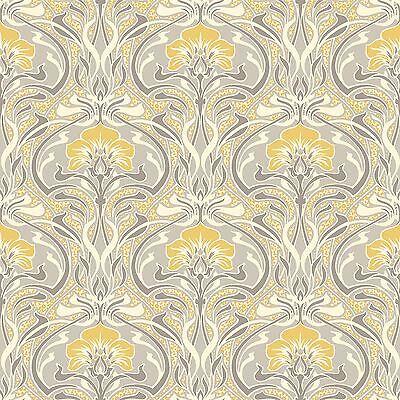 Archives Flora Nouveau Wallpaper Yellow - Crown M1195 Retro Floral