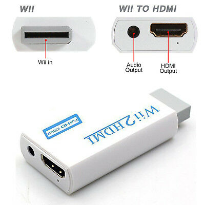 720P 1080P Full HD Wii to HDMI Video Converter 3.5mm Audio Adapter Upscaling AU 3