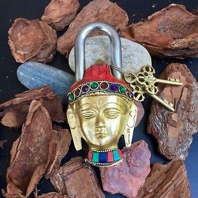 Buddha Antique lock Vintage Brass Padlock working lock skeleton key love lock 4