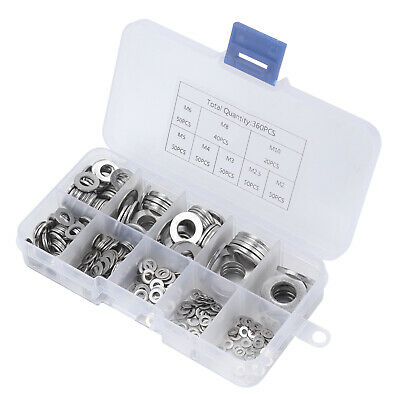 360Pcs Stainless steel Flat Washers Sealing Ring Washers Assortment Set 8 Size 7