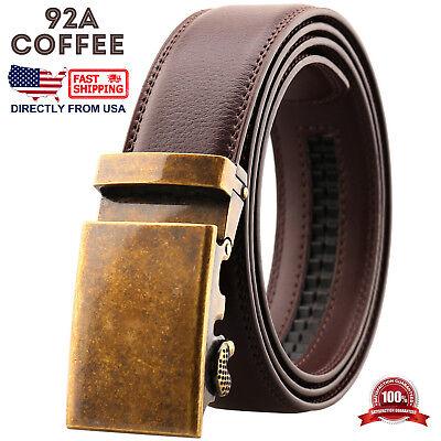 Mens Genuine Leather Automatic Buckle Ratchet Business Golf Dress Belt 8