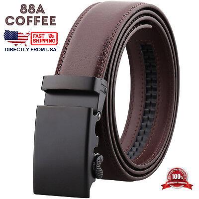 Mens Genuine Leather Automatic Buckle Ratchet Business Golf Dress Belt 4
