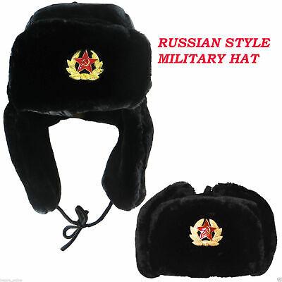 Russian Trapper Hat black With Soviet Badge Faux Fur Ushanka Cossack Flap Cap AU 5