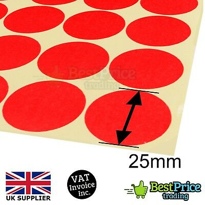 96 x 25mm Coloured DOT STICKERS Round Sticky Adhesive Spot Circles Paper Labels