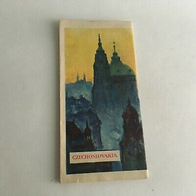 """Vintage 1960's Visitor's Guide Czechoslovakia Tourism 31.5"""" X 8"""" 3"""
