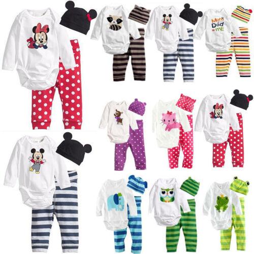 3pcs Newborn Baby Boys Girls Kids Cartoon Romper Hat Pants Bodysuit Outfits Sets 2