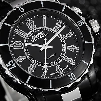 OHSEN Men's 7 LED Backlight Stainless Steel Sport Quartz Wrist Watch Waterproof 3