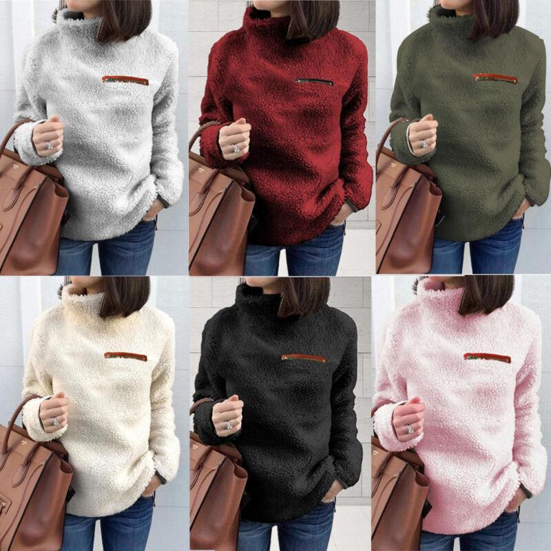 Women Fleece Fur Sweater Plus Size Long Sleeve Baggy Winter Tops Jumper Pullover 2
