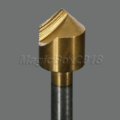 5pc Titanium Coated 1 Flute HSS Countersink Chamfering End Mill Cutter Drill Bit 8