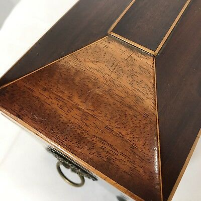 Antique Regency Mahogany Satinwood Inlaid Brass Mounted Two Section Tea Caddy 4