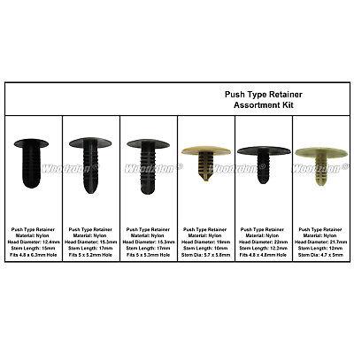 227 Auto Body Clips Plastic Fastener Fir Tree Push Type Retainer Assortment Kit