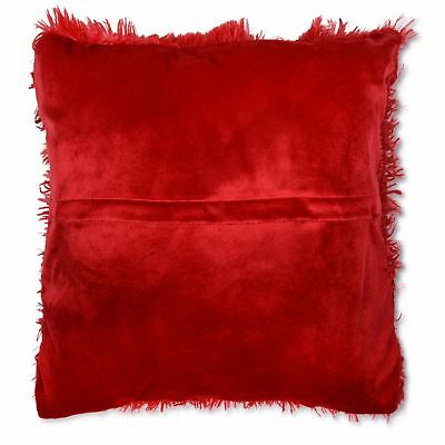 """Long Pile Super Soft and Cuddly Shaggy 17x17"""" (43x43cm) Cushion Cover (Red)"""