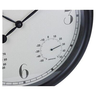 Large 38cm Wall Clock Outdoor Humidity & Temperature Dials Gauge Roman Numerals