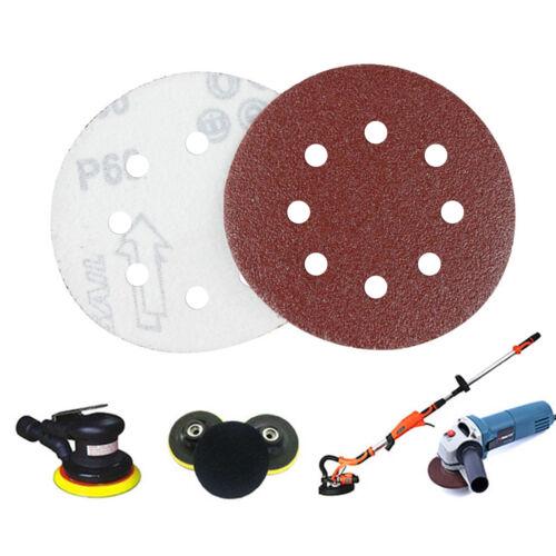 50X 125Mm Sanding Discs 40 60 80 120 240 Grit Orbital Velc Sander Pads 8 Bores