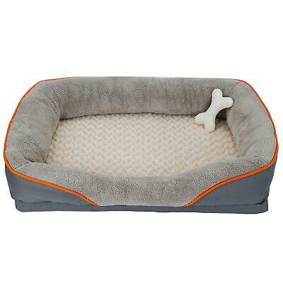 Dog Bed Memory Foam Pet Bed with Removable Washable Cover and Squeaker Toy 2