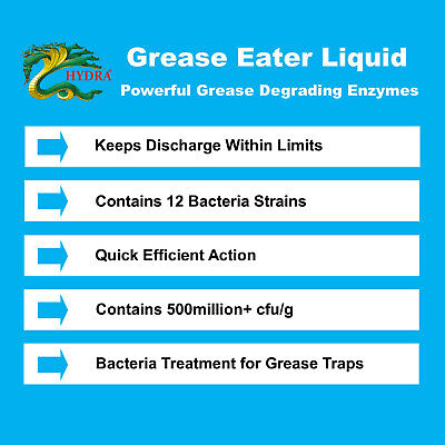 HYDRA GREASE EATER ENZYME LIQUID Grease Trap Drain Cleaner Remove Fat Oil Grease 4