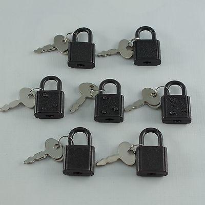 Old Vintage Antique SMALL  Padlock Mini Black Tiny Box Locks With keys(Lot of 7) 2