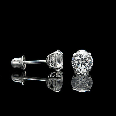 1ct Round Cut Created Diamond Earrings 14K White Gold Solitaire Screwback Studs 2