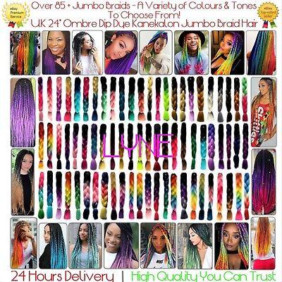 """97+ Colours  U.K  24"""" Ombre Dip Dye Kanekalon Jumbo Braid Hair  24 Hrs Delivery 2"""