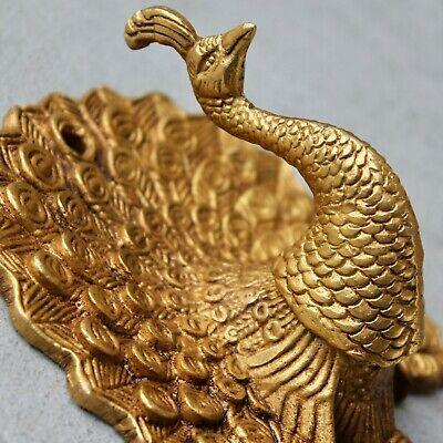 Antique Solid Brass Peacock coat hook rustic VTG bronze hook mid century modern 2