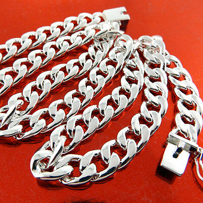 """Mens Silver Necklace Chain Real 925 Sterling S/F Solid Heavy Cuban Link 20"""" 50cm 5"""
