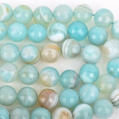 8mm Round Agate Beads, Robin's Egg BLUE Faceted Turquoise Blue AGATE gag0336 5