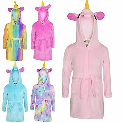 Kids Bathrobe 3D Animal Unicorn Dressing Gown Fleece Night Loungewear Girls Boys 3