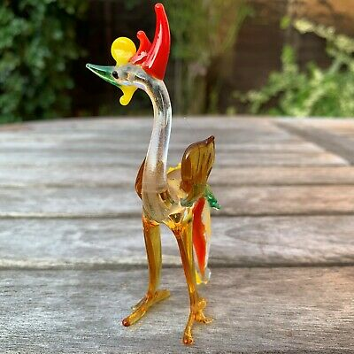 "VTG Italian Murano Art Glass Miniature Animal Figurine Cock Cockerel 4""/10cm 2"