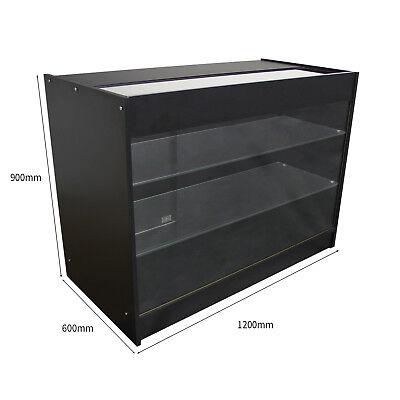Vape Retail  Counter Glass Shelf Product Display Lockable Cabinet Black K1200 5