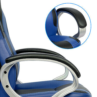 Executive Racing Gaming Office Chair PU Leather Swivel Sport Computer Desk Blue 6