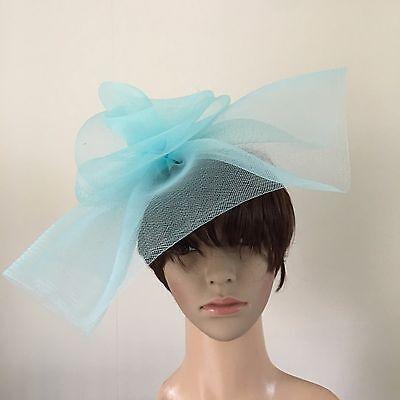 duck egg light pale baby blue feather headband fascinator millinery wedding 4