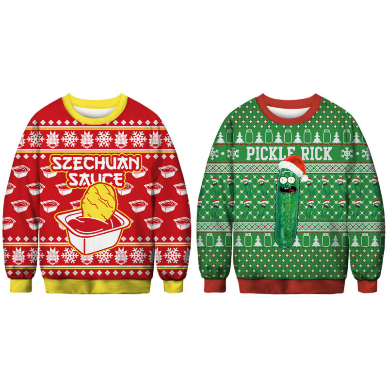 Unisex Ugly Christmas Sweater Santa Women Men Xmas Jumper Casual Sweatshirt Tops 7