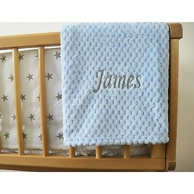 Personalised Baby Waffle Blanket Blue Grey Font Soft Newborn Christening Shower 2