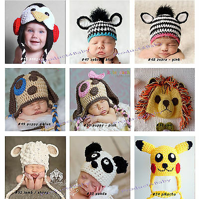 New Baby Boy Girl Crochet Beanie Costume Hat 0-3, 3-6, 6-12M,1-3Yrs Photo Props 7