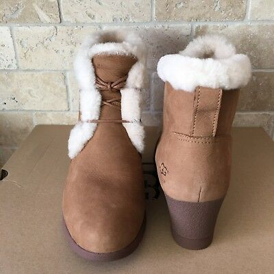 9ba2e0eaa62 UGG JEOVANA CHESTNUT Suede Waterproof Ankle Wedge Booties Boots Size 9  Womens