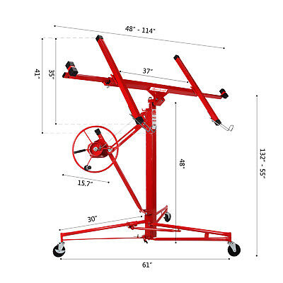 NEW 11' Drywall Lifter Panel Hoist Jack Rolling Caster Construction Lockable Red 2