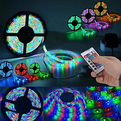 1-30M 5050 3528 RGB LED Strip Light Flexible Lighting 12V IR Controller Adapter 6