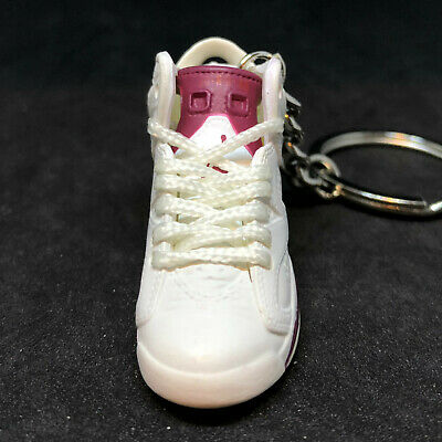 AIR JORDAN VI 6 RETRO MAROON OFF WHITE DB SNEAKERS SHOES KEY CHAIN RING HOLDER