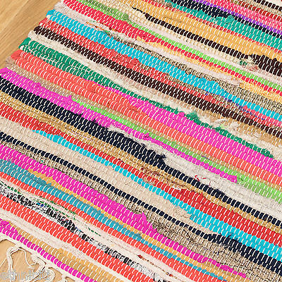 1 Of 2free Shipping Fair Trade Chindi Rag Rug 12 Sizes Recycled Handloom Cotton Braided Runner Mat