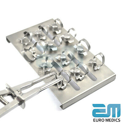 Dental Restorative Set of 12 Rubber Dam Clamps & Frame Colliers Dentist Tools CE 2