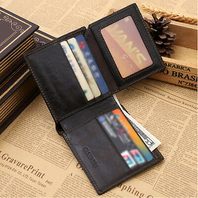 Genuine Leather Mens Purse Bifold Credit Card Wallet RFID Blocking Anti Scan OZ 2