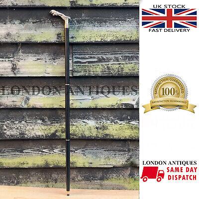 Jaguar Walking Stick Solid Brass Nickle Finish Handle Black Stick Fordable Cane 2